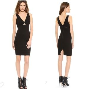 New Alice & Olivia Black V Nexk Mesh Fitted Dress